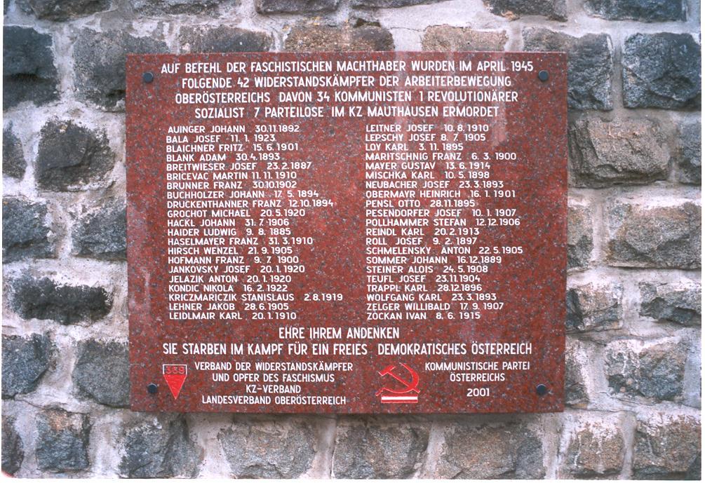 Gedenktafel Klagemauer für die 42 Widerstandskämpfer